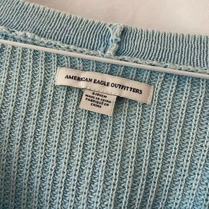 American Eagle Outfitters Sweaters - AE lace-up bell sleeve knit light blue sweater